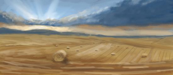 Zweimühlen während der Ernte